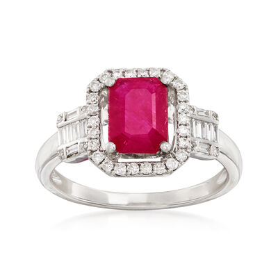 1.80 Carat Ruby and .32 ct. t.w. Diamond Ring in 14kt White Gold, , default