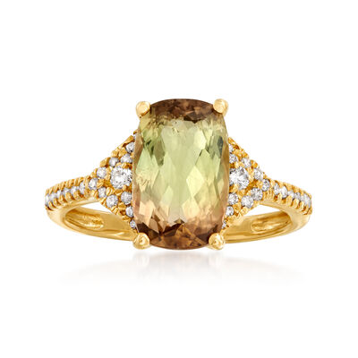 3.30 Carat Multicolored Tourmaline and .20 ct. t.w. Diamond Ring in 14kt Yellow Gold
