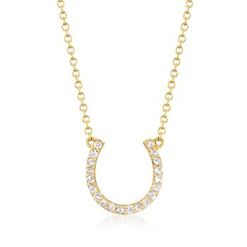 .40 ct. t.w. White Sapphire Horseshoe Necklace in 14kt Yellow Gold, , default