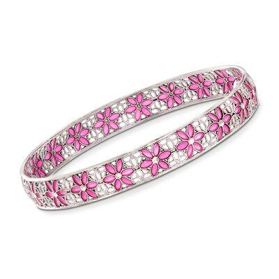 Italian Sterling Silver and Pink Enamel Floral Filigree Bangle Bracelet, , default
