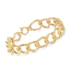 "Italian 18kt Yellow Gold Twisted Double Link Bracelet. 7.5"", , default"