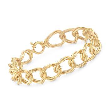 "Italian 18kt Yellow Gold Twisted Double Link Bracelet. 7.5"", , default"