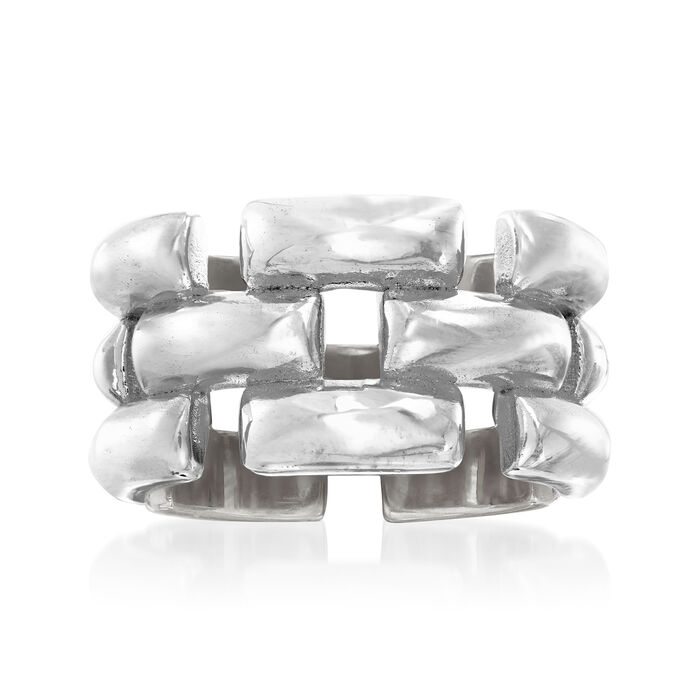 Italian Sterling Silver Panther-Link Ring