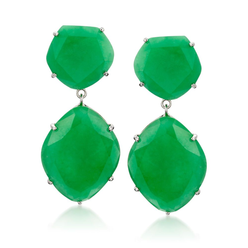 Green Jade Drop Earrings In Sterling