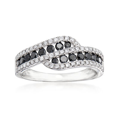 C. 1990 Vintage Giantti .85 ct. t.w. Black and White Diamond Bypass Ring in 18kt White Gold