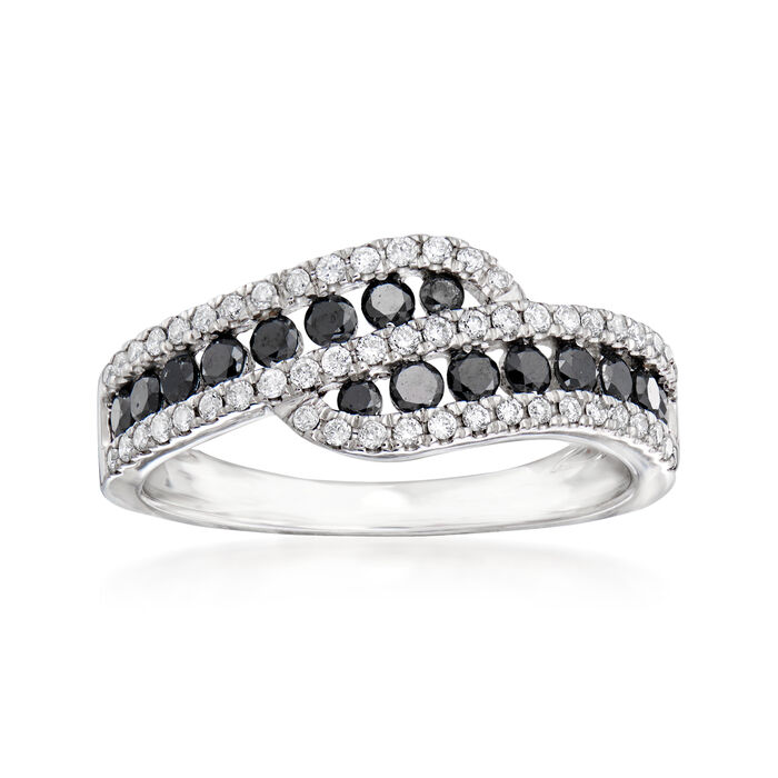 C. 1990 Vintage Giantti .85 ct. t.w. Black and White Diamond Bypass Ring in 18kt White Gold. Size 7