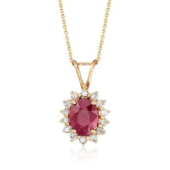 """3.00 Carat Burmese Ruby and .42 ct. t.w. Diamond Pendant Necklace in 14kt Yellow Gold. 18"""", , default"""