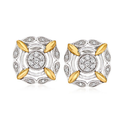 .25 ct. t.w. Diamond Earrings in Sterling Silver and 14kt Yellow Gold