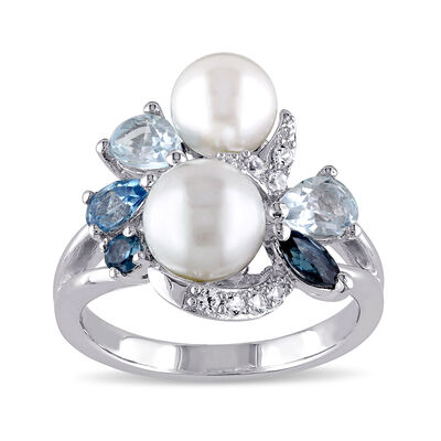 6.5-8mm Cultured Pearl and 1.48 ct. t.w. Blue Topaz Ring with Synthetic White Sapphire in Sterling Silver, , default