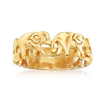 Italian 18kt Gold Over Sterling Elephant Ring