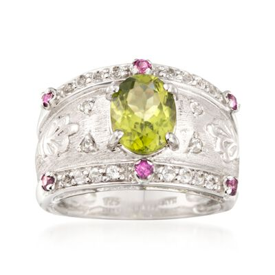 2.30 Carat Peridot and .60 ct. t.w. Multi-Stone Ring in Sterling Silver, , default