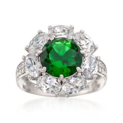 Simulated Emerald and 3.75 ct. t.w. CZ Ring in Sterling Silver, , default