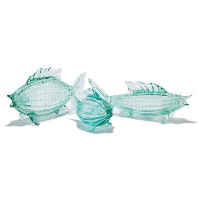 Set of 3 Aqua Glass Fish, , default