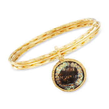 Italian Bronze Coin Triple Bangle Bracelet in 18kt Yellow Gold Over Sterling Silver, , default