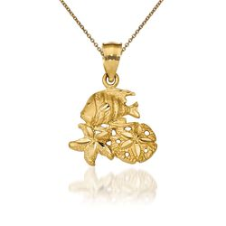 "14kt Yellow Gold Sea Life Pendant Necklace. 18"", , default"