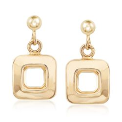 Italian 14kt Yellow Gold Open Square Drop Earrings, , default