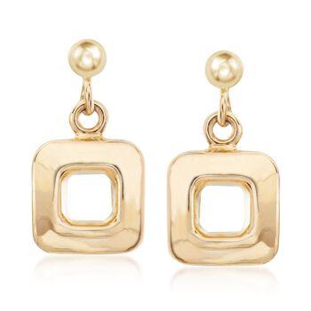 Italian 14kt Yellow Gold Open Square Drop Earrings, , default