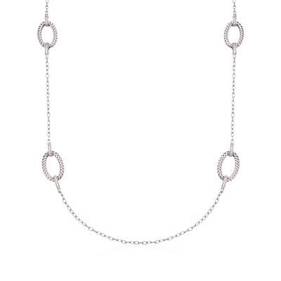"Charles Garnier ""Ravello"" 1.60 ct. t.w. CZ Station Necklace in Sterling Silver"