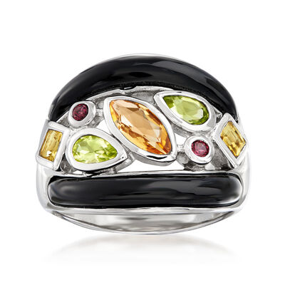Black Agate and 1.30 ct. t.w. Multi-Gemstone Ring in Sterling Silver