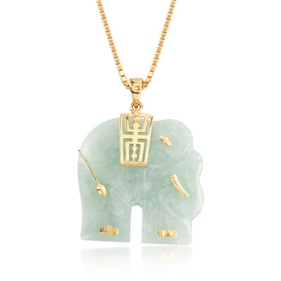 Carved Green Jade Elephant Pendant Necklace in 18kt Gold Over Sterling, , default