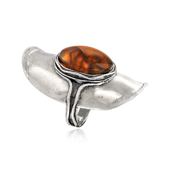 18x13mm Amber Ring in Sterling Silver, , default