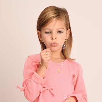"Child's 14kt Yellow Gold Heart Bangle Bracelet. 5.25"", , default"