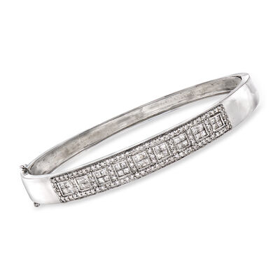 C. 1990 Vintage 2.15 ct. t.w. Diamond Bangle Bracelet in 14kt White Gold