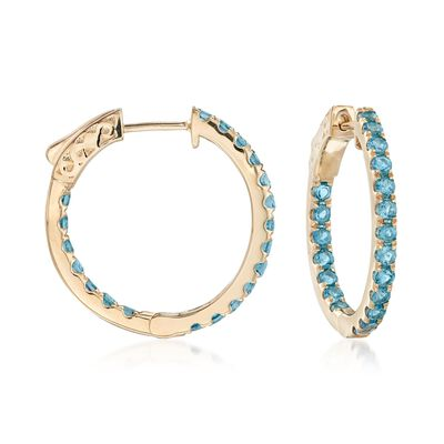 1.80 ct. t.w. London Blue Topaz Inside-Outside Hoop Earrings in 14kt Yellow Gold, , default