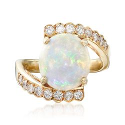 C. 1990 Vintage Opal and .55 ct. t.w. Diamond Ring in 14kt Yellow Gold. Size 6.75, , default