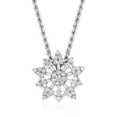 C. 1990 Vintage 2.05 ct. t.w. Diamond Snowflake Pendant Necklace in 14kt White Gold