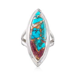 Marquise Kingman Turquoise Ring in Sterling Silver, , default