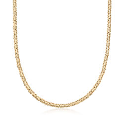 18kt Gold Over Sterling Silver Flat Byzantine Necklace, , default