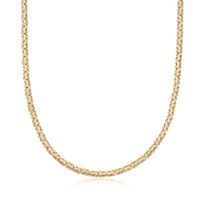 18kt Gold Over Sterling Silver Flat Byzantine Necklace, , default