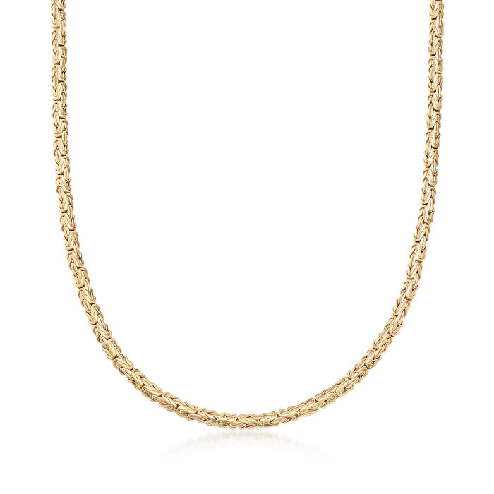 "18kt Gold Over Sterling Silver Flat Byzantine Necklace. 18"", , default"
