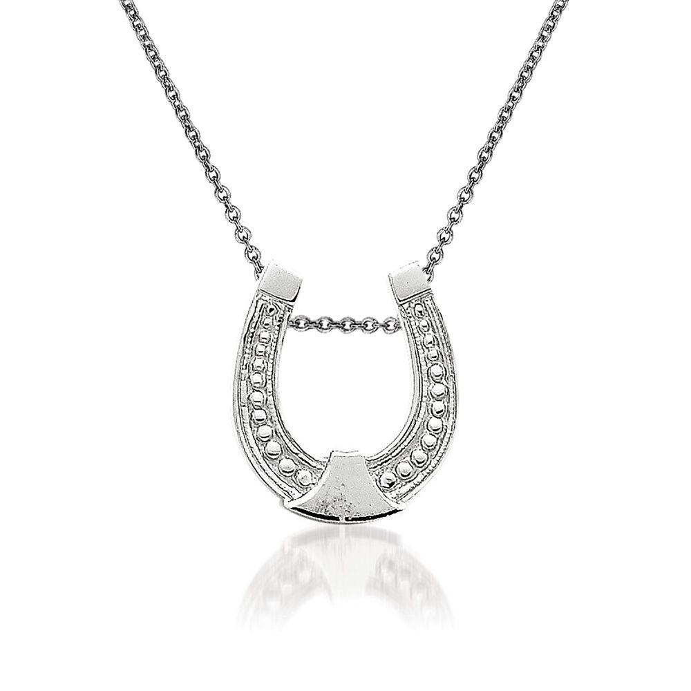 14kt white gold horseshoe pendant necklace 18 ross simons 14kt white gold horseshoe pendant necklace 18quot default aloadofball Gallery