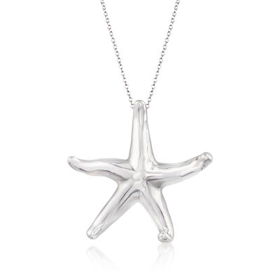 Sterling Silver Starfish Pendant Necklace, , default