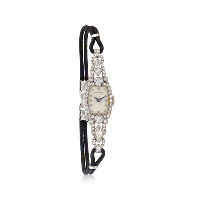 C. 1950 Vintage Tiffany Jewelry Women's 2.00 ct. t.w. Diamond 13mm Watch in Platinum with Nylon Cord
