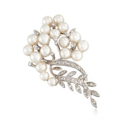 C. 1960 Vintage 5-6mm Cultured Pearl and .75 ct. t.w. Diamond Bouquet Pin in 14kt White Gold , , default