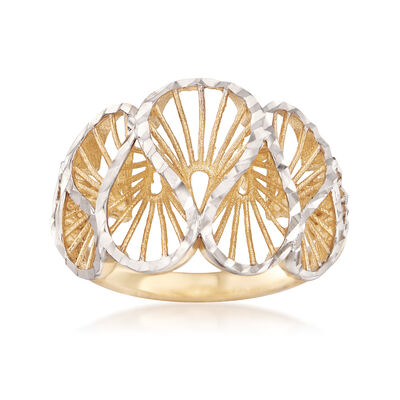 14kt Two-Tone Gold Swirl Ring, , default
