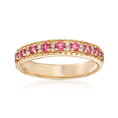 .20 ct. t.w. Pink Tourmaline Ring with Diamond Accents in 14kt Yellow Gold, , default