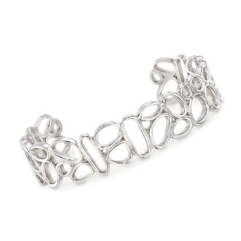 "Zina Sterling Silver Mini ""Touchstone"" Geometric Cuff Bracelet. 7.5"", , default"