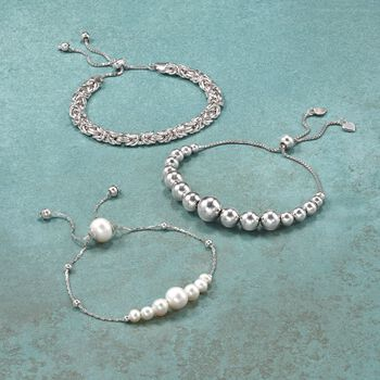4-9mm Sterling Silver Graduated Bead Bolo Bracelet, , default