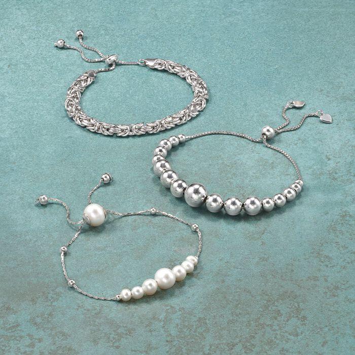 4-10mm Sterling Silver Graduated Bead Bolo Bracelet