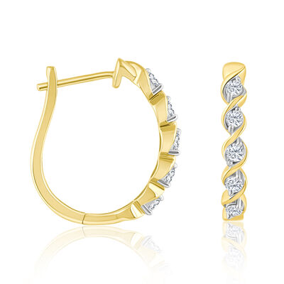 .32 ct. t.w. Diamond Twisted Hoop Earrings in 14kt Yellow Gold