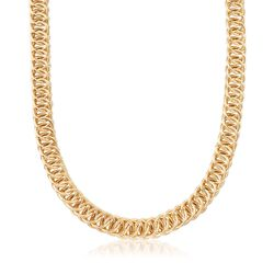 Italian 18kt Gold Over Sterling Double Circle-Link Necklace, , default