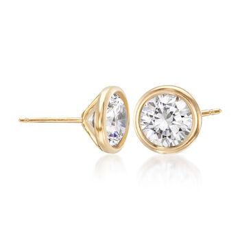 1.00 ct. t.w. Bezel-Set CZ Stud Earrings in 14kt Yellow Gold, , default