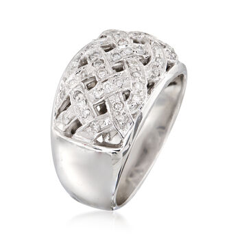 C. 1990 .60 ct. t.w. Diamond Basketweave Ring in 14kt White Gold. Size 7, , default