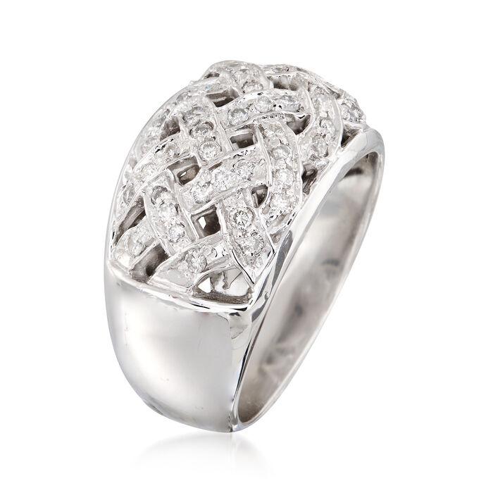 C. 1990 .60 ct. t.w. Diamond Basketweave Ring in 14kt White Gold