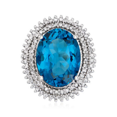 12.00 Carat London Blue Topaz and .80 ct. t.w. Diamond Ring in 14kt White Gold