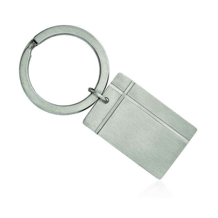 Stainless Steel Brushed and Grooved Key Chain, , default